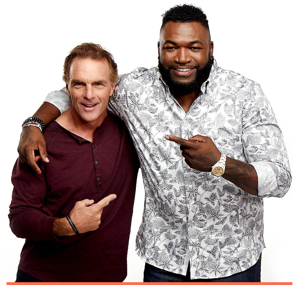 Doug Flutie and Big Papi on White pointing to each other