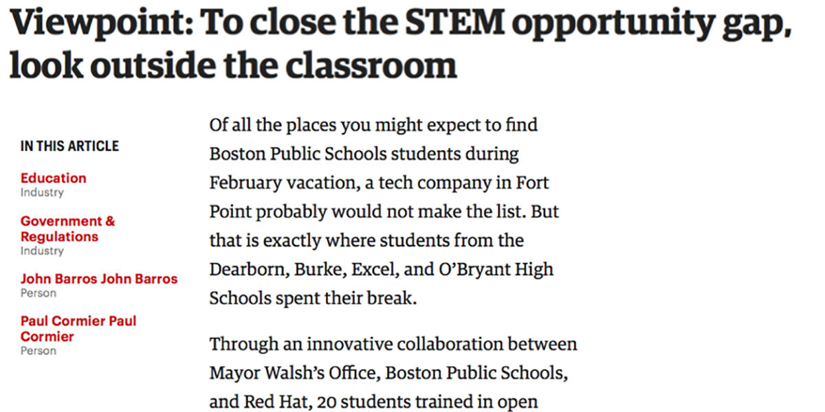 Viewpoint: To close the STEM opportunity gap, look outside the classroom
